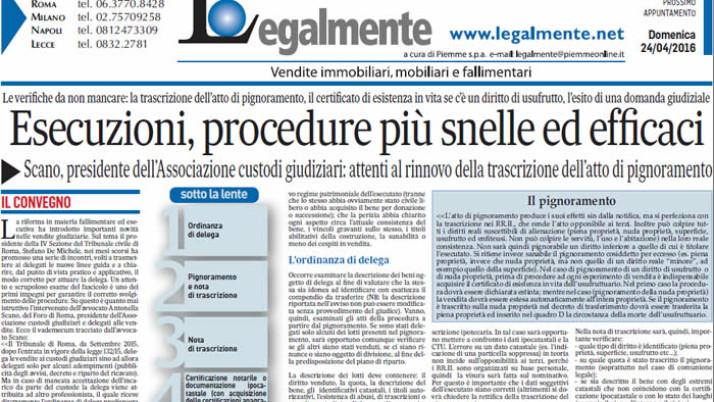 """Il Messagero: """"Esecuzioni, procedure più snelle ed efficaci"""""""