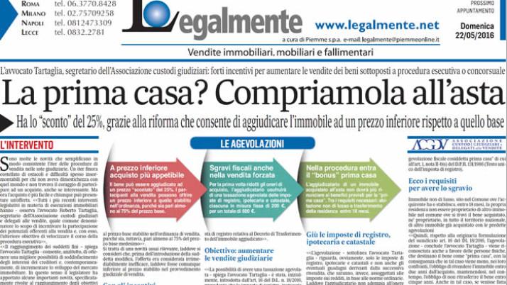 """Il Messaggero: """"La prima casa? Compriamola all'asta"""""""