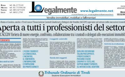 """Il Messaggero: """"Dopo Roma e Cassino, anche a Tivoli nasce l'ACGDV"""""""